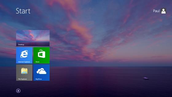 Nå blir det samme bakgrunn på den flisbelagte startmenyen og skrivebordet.Foto: winsupersite.com / Microsoft