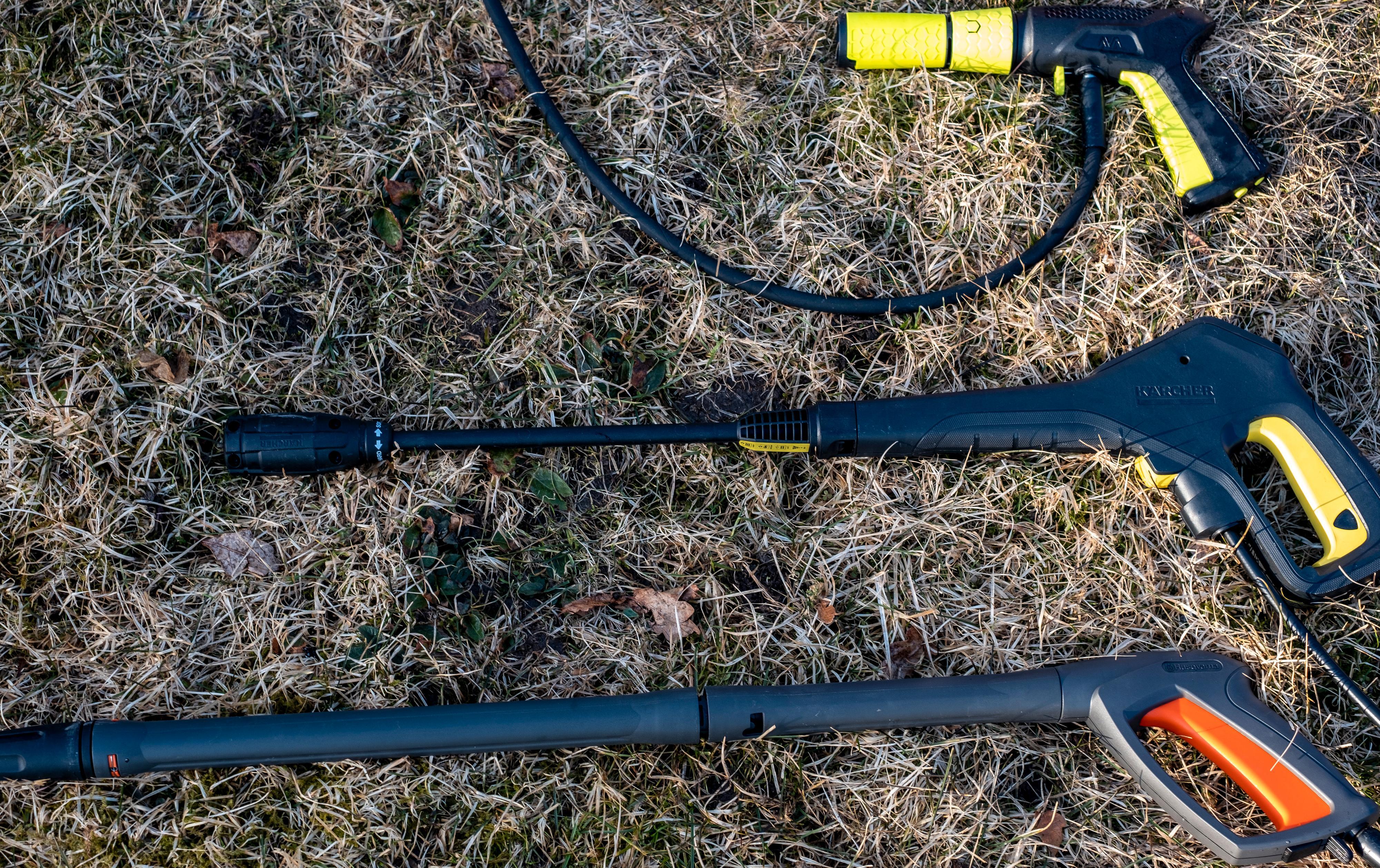 En rekke ulike dyser: AVAs spyler kommer med en kompakt pistolgrepsdyse, mens et par av testens andre deltakere har dyser som lar deg kontrollere trykket rett på håndtaket. Den vanligste typen er den enkle, og større tysen som kun lar deg justere bredden på strålen.