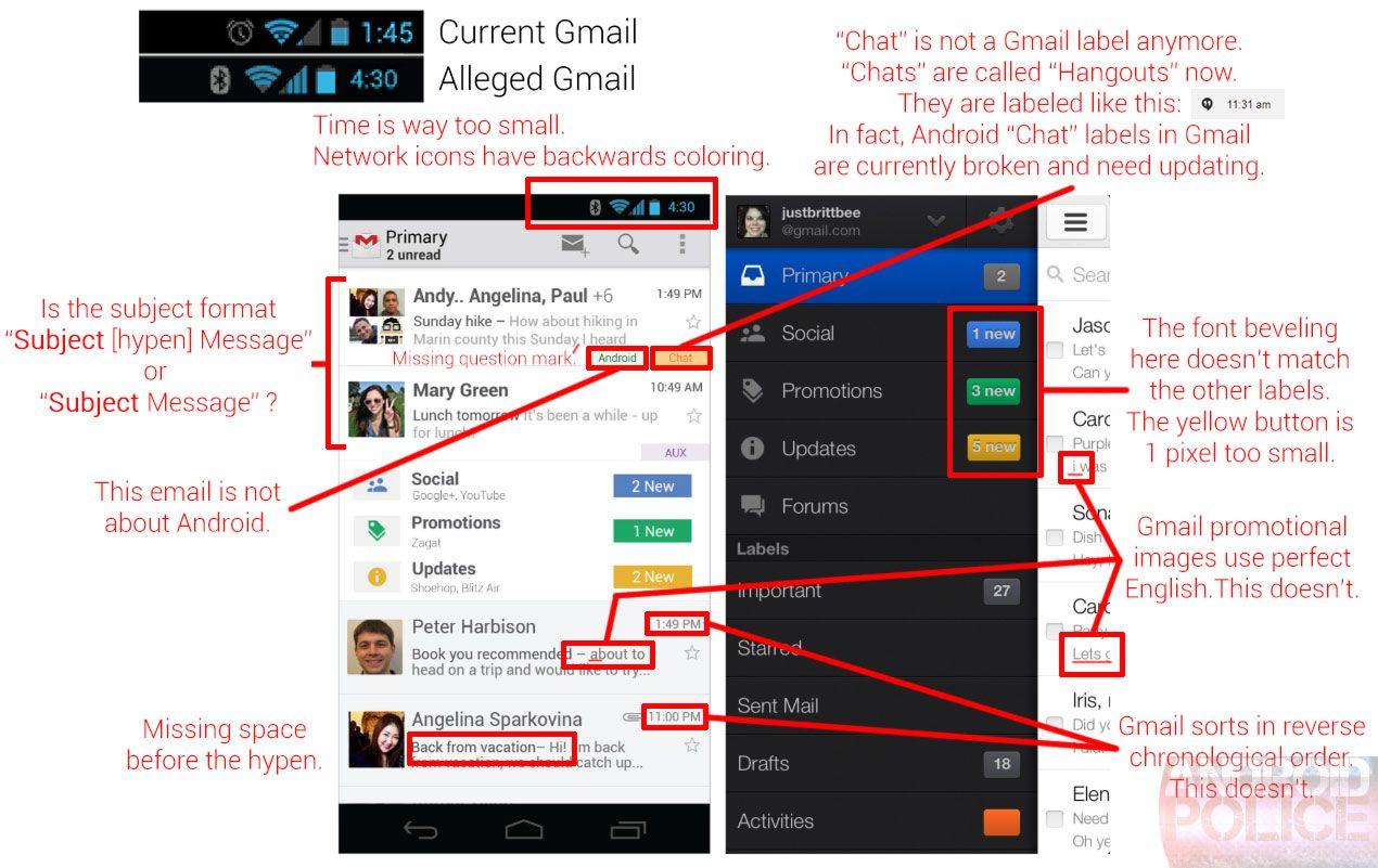 Nettsiden Android Police påpeker tilsynelatende feil og motsigelser i Googles påståtte nye grensesnitt for Gmail. Klikk på bildet for stor versjon.Foto: Android Police