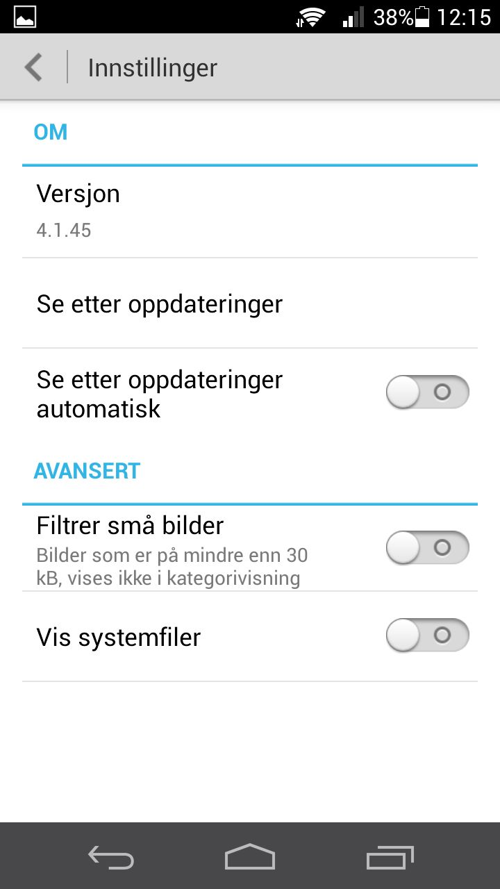 To litt uvanlige funksjoner i en filutforsker på Android; denne kan vise systemfiler, eller skjule bittesmå bildefiler.Foto: Finn Jarle Kvalheim, Amobil.no