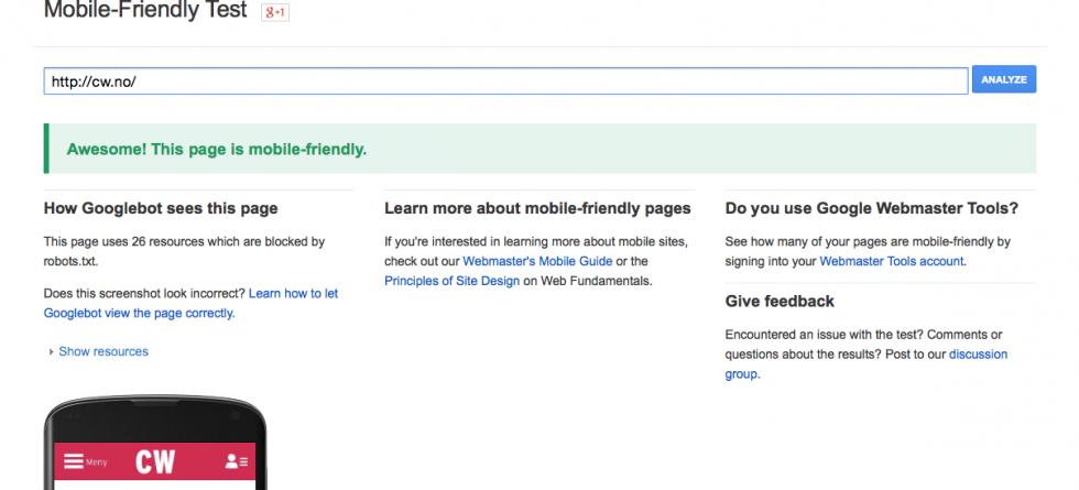 Google har laget en tjeneste som enkelt lar deg sjekke om nettsiden er mobilvennlig.