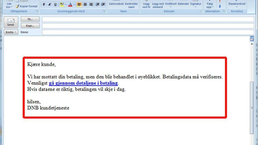 Ikke åpne denne e-posten!