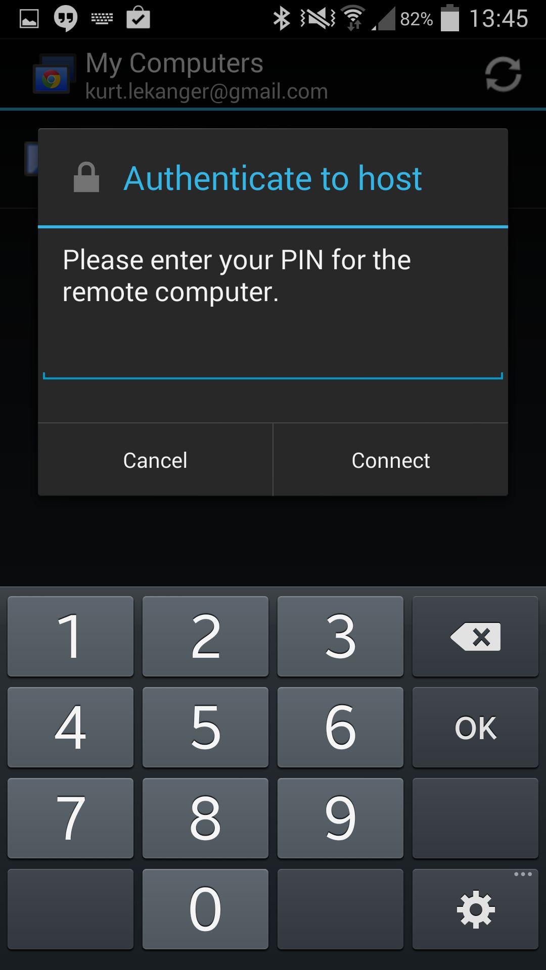 Tast inn PIN-kode for å starte fjernstyring.