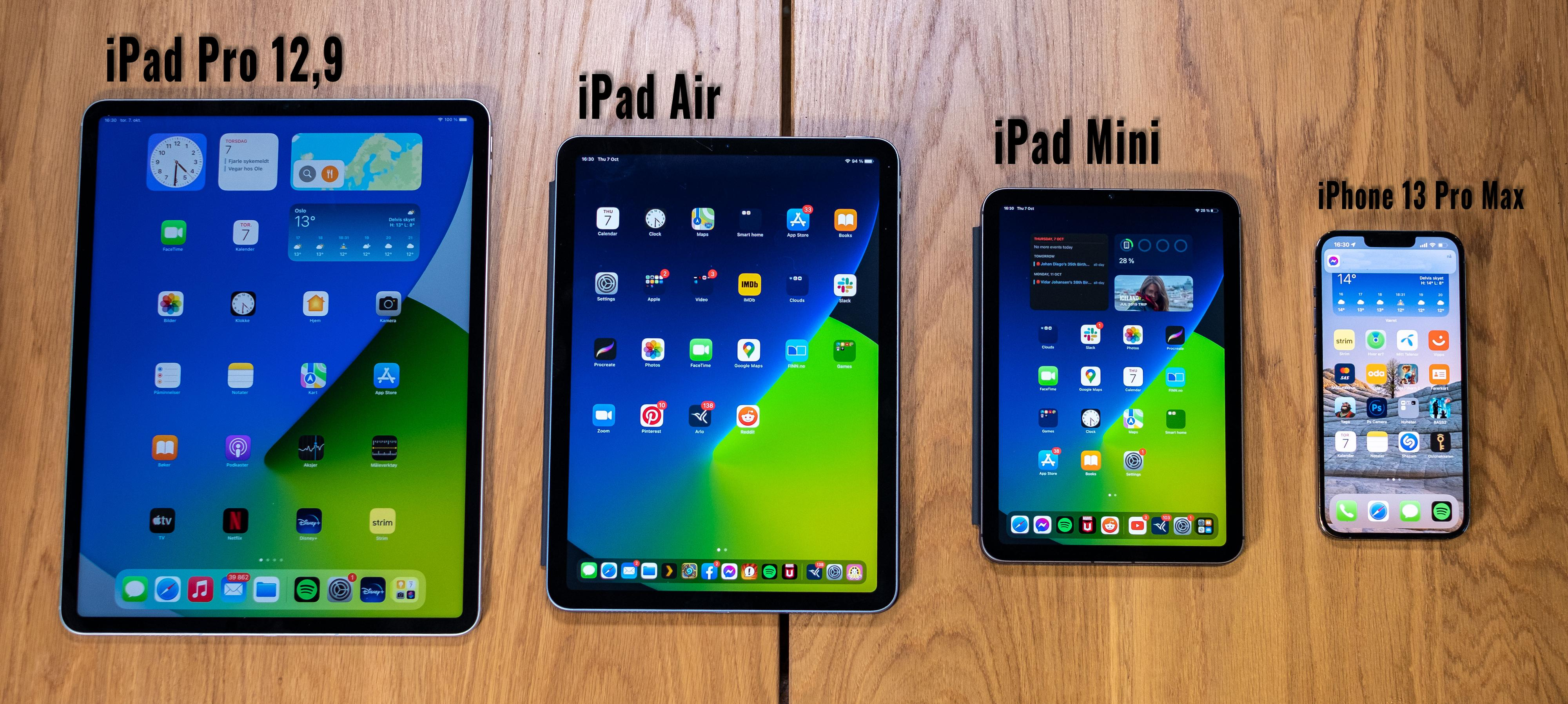 Det er ikke veldig stor forskjell på skjermstørrelsene på iPad Mini og iPhone 13 Pro Max, men likevel er grensesnittet ganske annerledes.