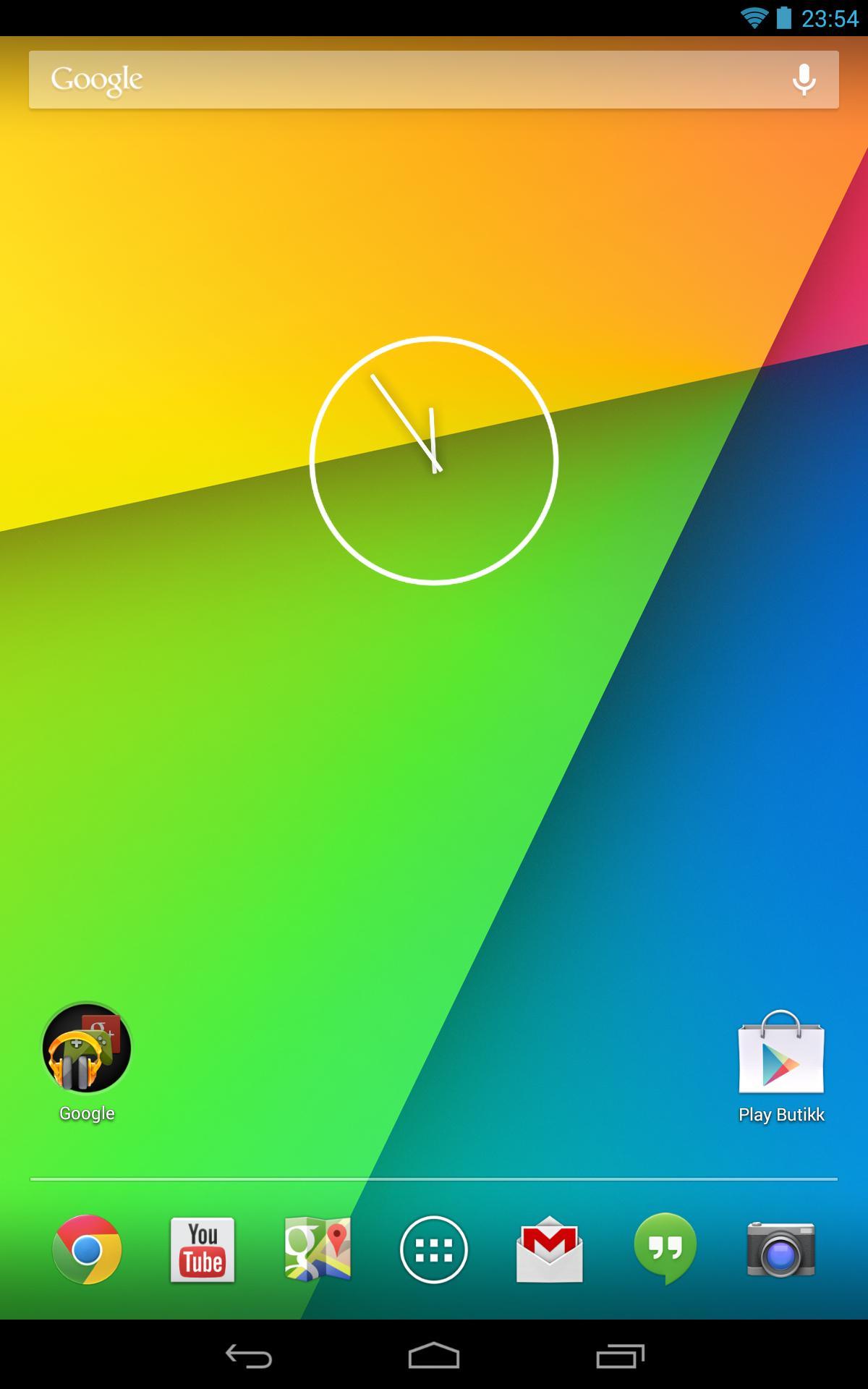 Slik ser en fersk hjemmeskjerm på Nexus 7 med Android 4.3 ut.Foto: Finn Jarle Kvalheim, Amobil.no