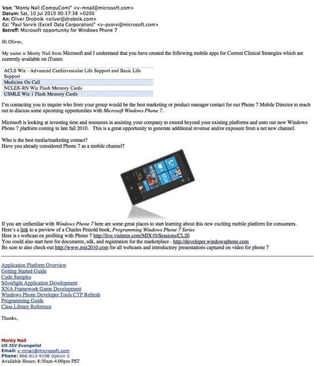 Microsofts brev til utvikleren Oliver Drobnik. Klikk for større utgave.