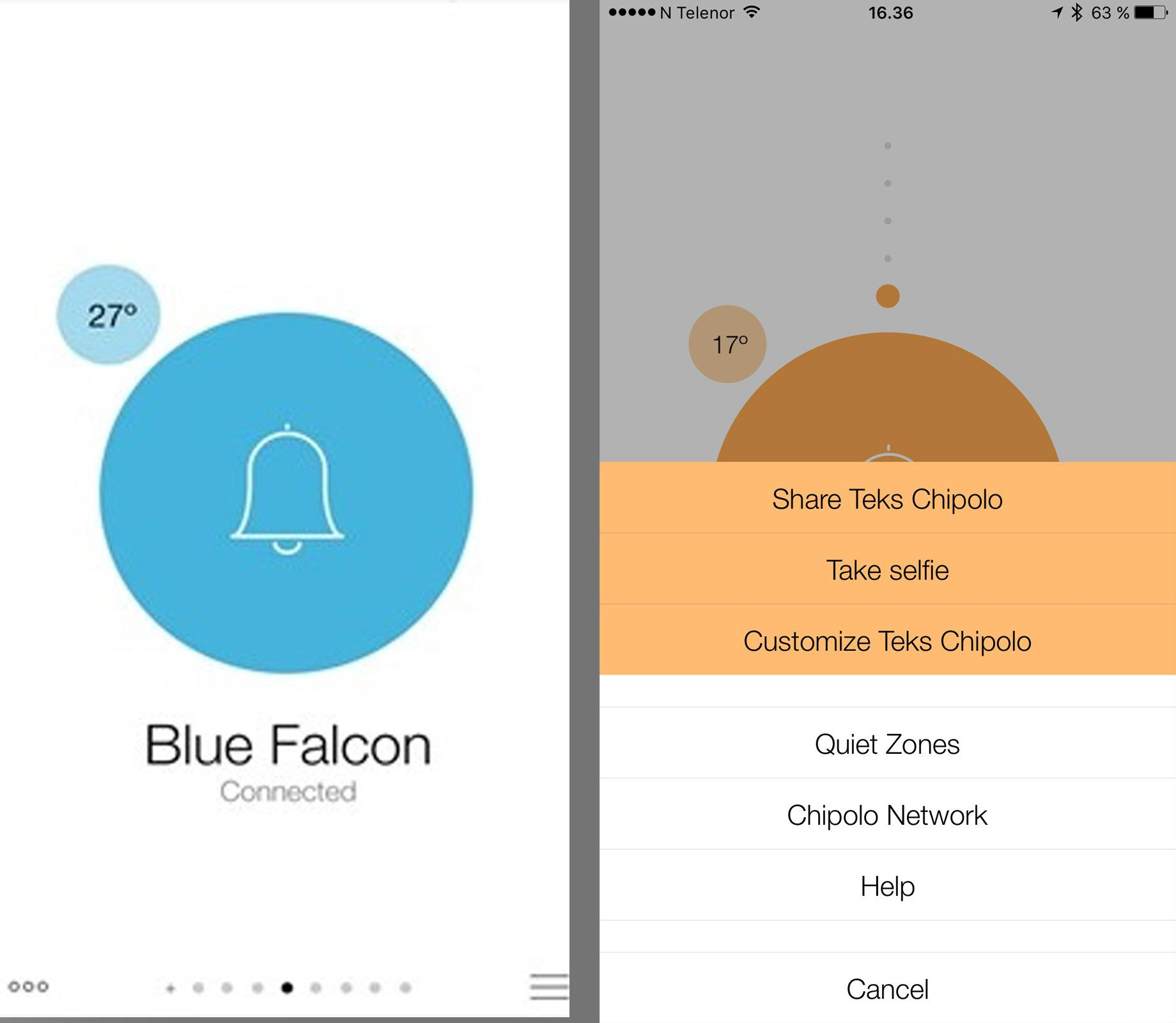 Chipolo er en pen app på alle platformer. Windows Phone til venstre, Android til høyre.