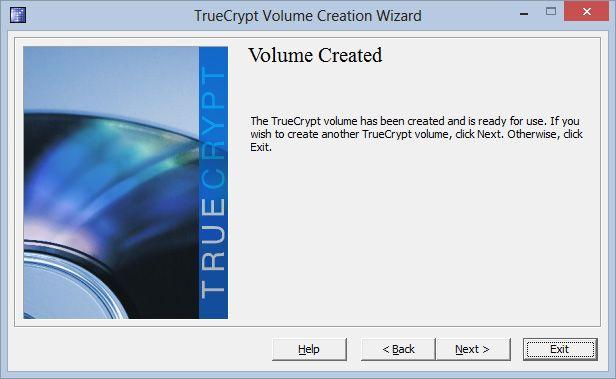 Når TrueCrypt har gjort jobben sin, lukker vi veiviseren, og er klare til å ta filbeholderen i bruk.