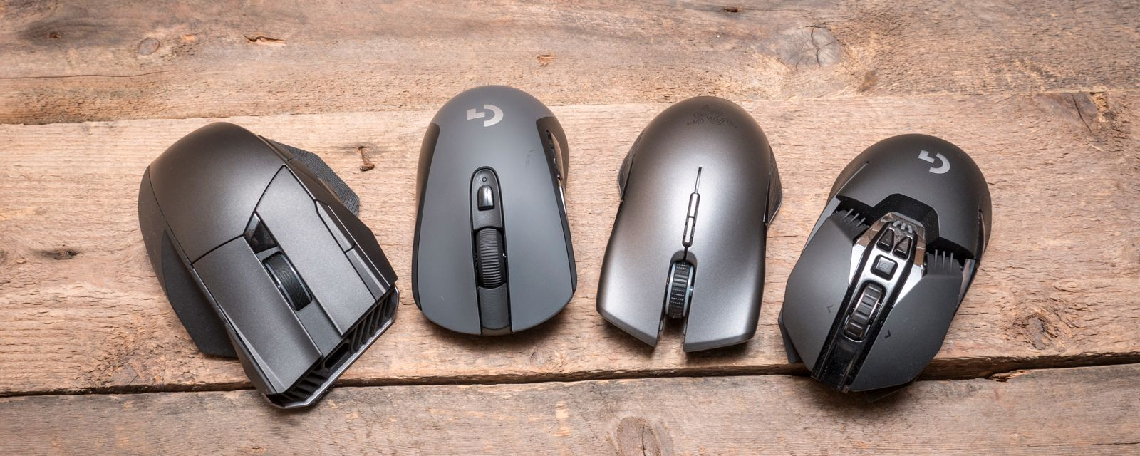 Noen av de trådløse vi har testet (artikkelen oppdateres jevnlig): (F.V) Asus ROG Spatha, Logitech G603 (G403 ser stort sett lik ut, bare at den er helt sort), Razer Lancehead og Logitech G903.