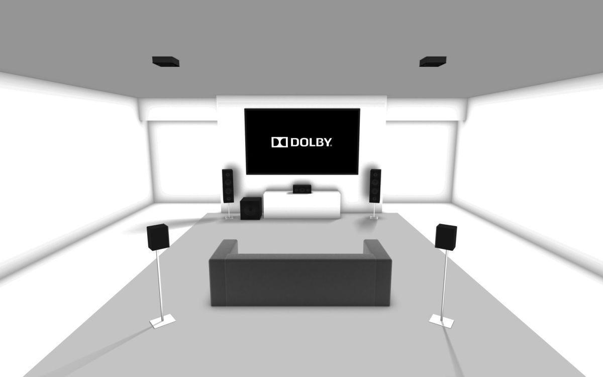 Her er et eksempel på takhøyttalere i et 5.1.2-system. .Foto: Dolby