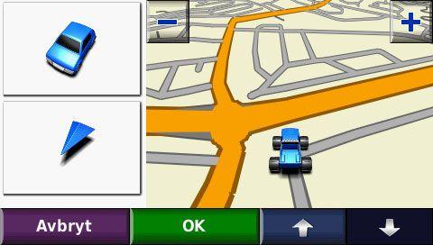 Du kan velge mellom 3 forskjellige biler, alternativt en pil.