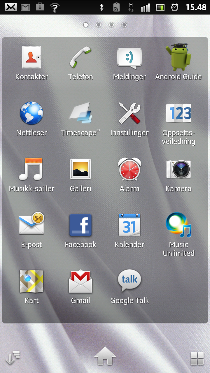 Slik ser applikasjonsmenyen i Xperia S ut.