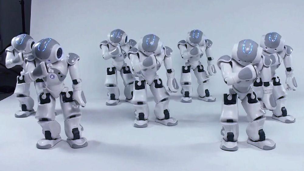 Disse robotene underholder med dans, men demonstrerer også en synkron gruppeoppførsel.Foto: AldebaranRobotics