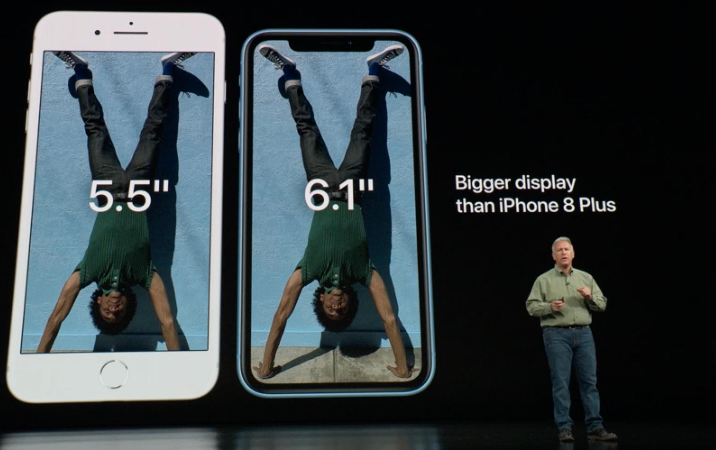 Slik ser iPhone Xr ut ved siden av en iPhone 8 Plus.