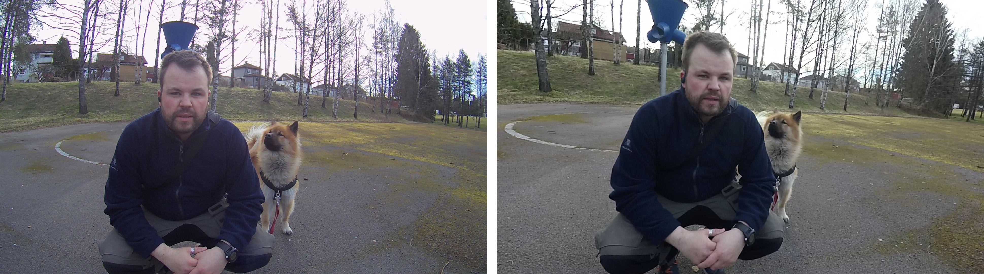 Bildene fra TomTom Bandit (t.h.) har ett litt varmere fargestikk enn Garmin Virb XE (t.v.)i auto-hvitbalanse.