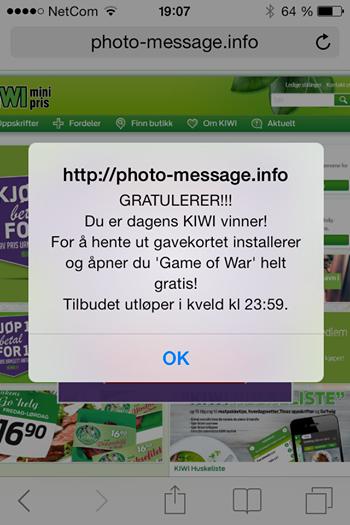 Slike SMS-er sirkulerte i januar.Foto: Kiwi
