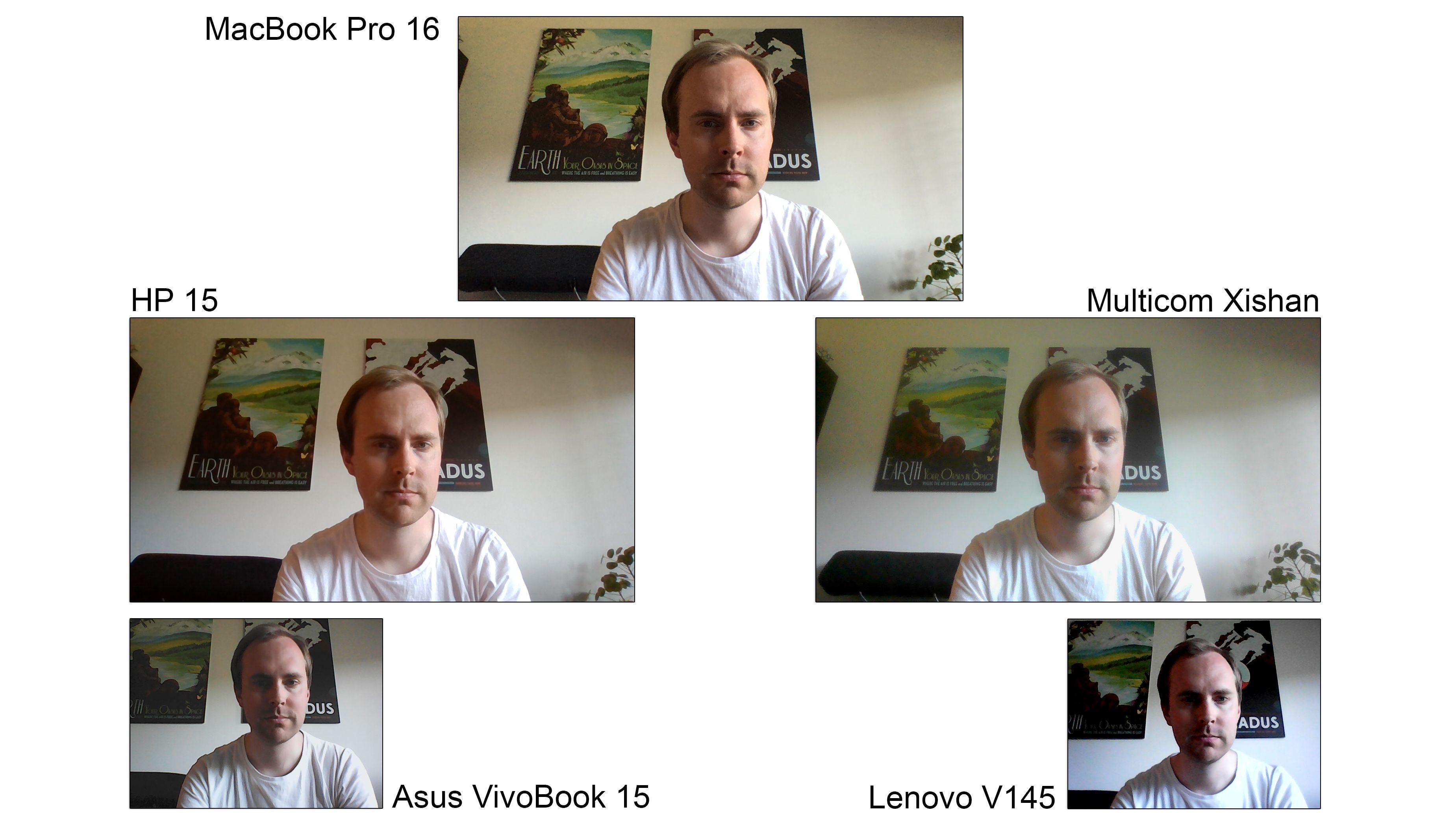 Det er stor forskjell på kameraene. To er helt forferdelige, og ingen kan sies å være «gode». Heller ikke det til MacBook Pro 16, en maskin til over 30.000 kroner som vi brukte som referanse.