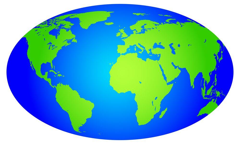 En ellipsoide er en forenklet jordklode.