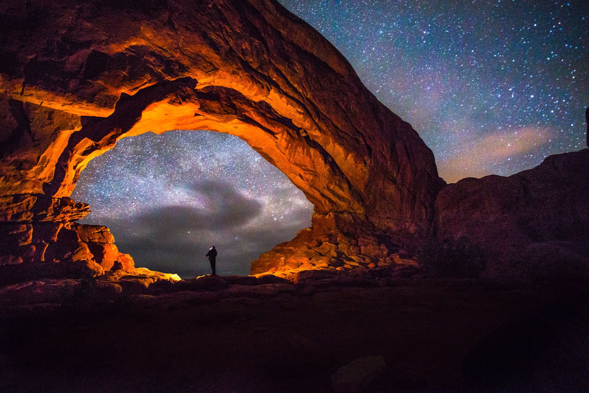 Just me, observing the stars above ancient sandstone landscape of Arches National Park. It's amazing how when we view our earthly environment in its natural state, the more alien it becomes. Single exposure, no composites. Foto: Krishan Bansal, Shortlist, Youth Competition, 2015 Sony World Photography Awards