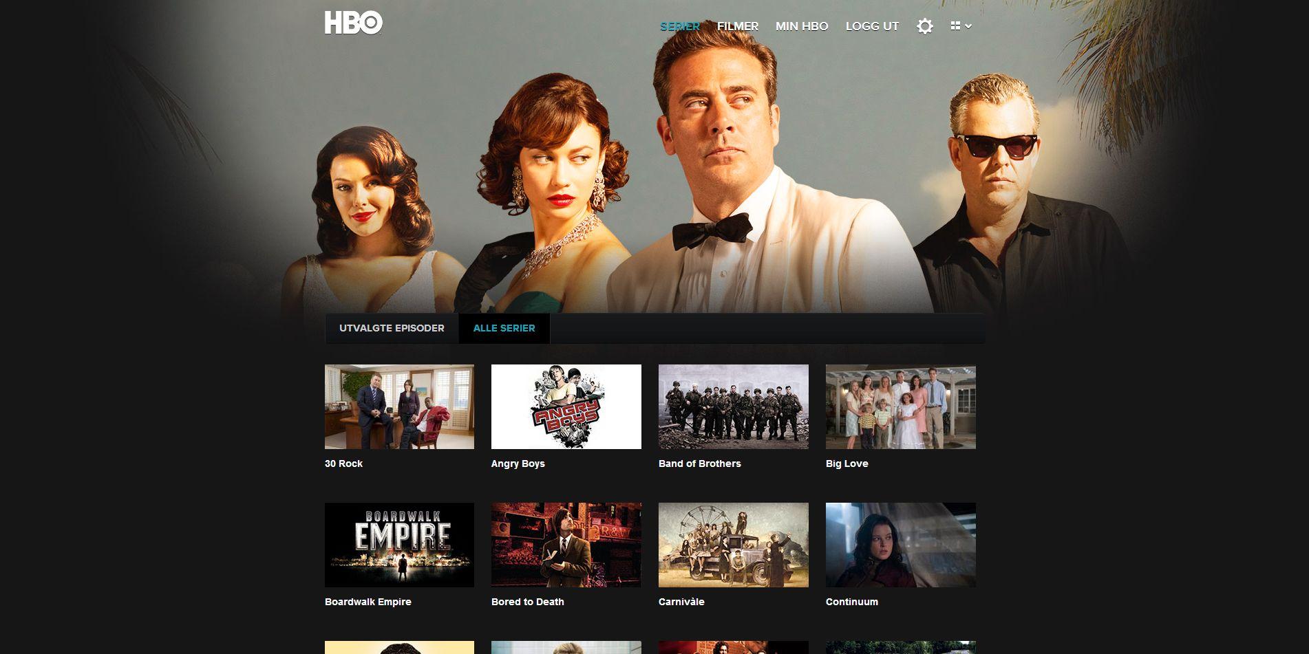 Den andre måten å se forsiden på gir deg bedre oversikt over alle seriene HBO har.