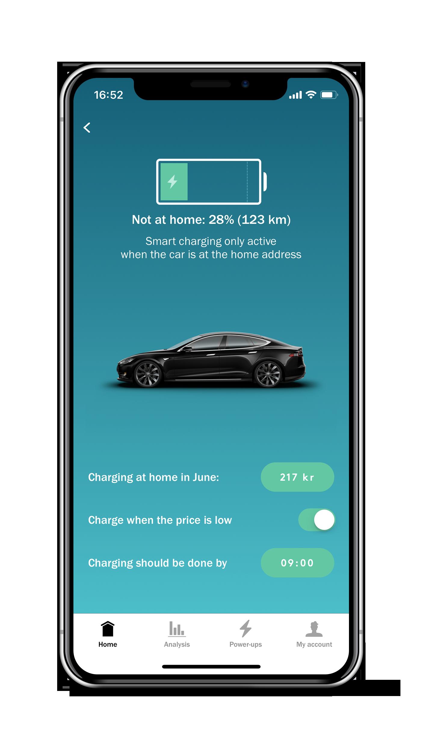 Tibber-appen gir kontroll over ladingen, og du kan aktivere og deaktivere smartlading ved behov.