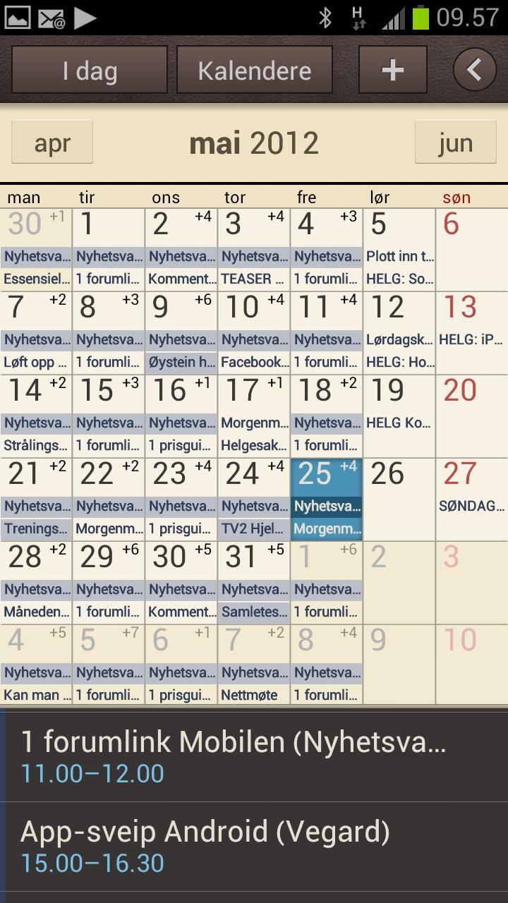 Kalenderfunksjonen i Samsungs Touch Wiz har blitt svært god.