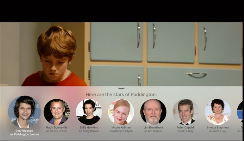 Spør man Siri om hvem som er med i filmen, dukker skuespillerne opp på bunnen av skjermen.