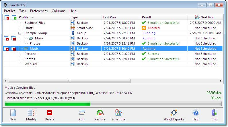 Skjermbilde fra SyncBack SE, et billig og godt program for sikkerhetskopiering