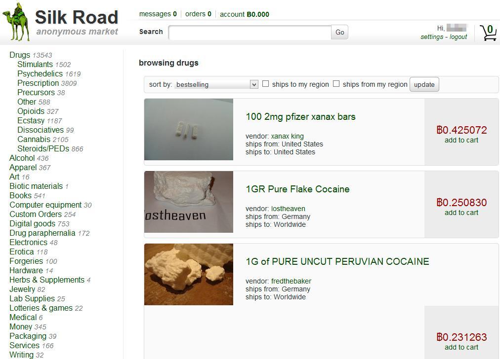 Undergrunnsmarkedet Silk Road, som hovedsakelig selger narkotiske stoffer, er blant nettsidene som bruker Bitcoin til transaksjoner.