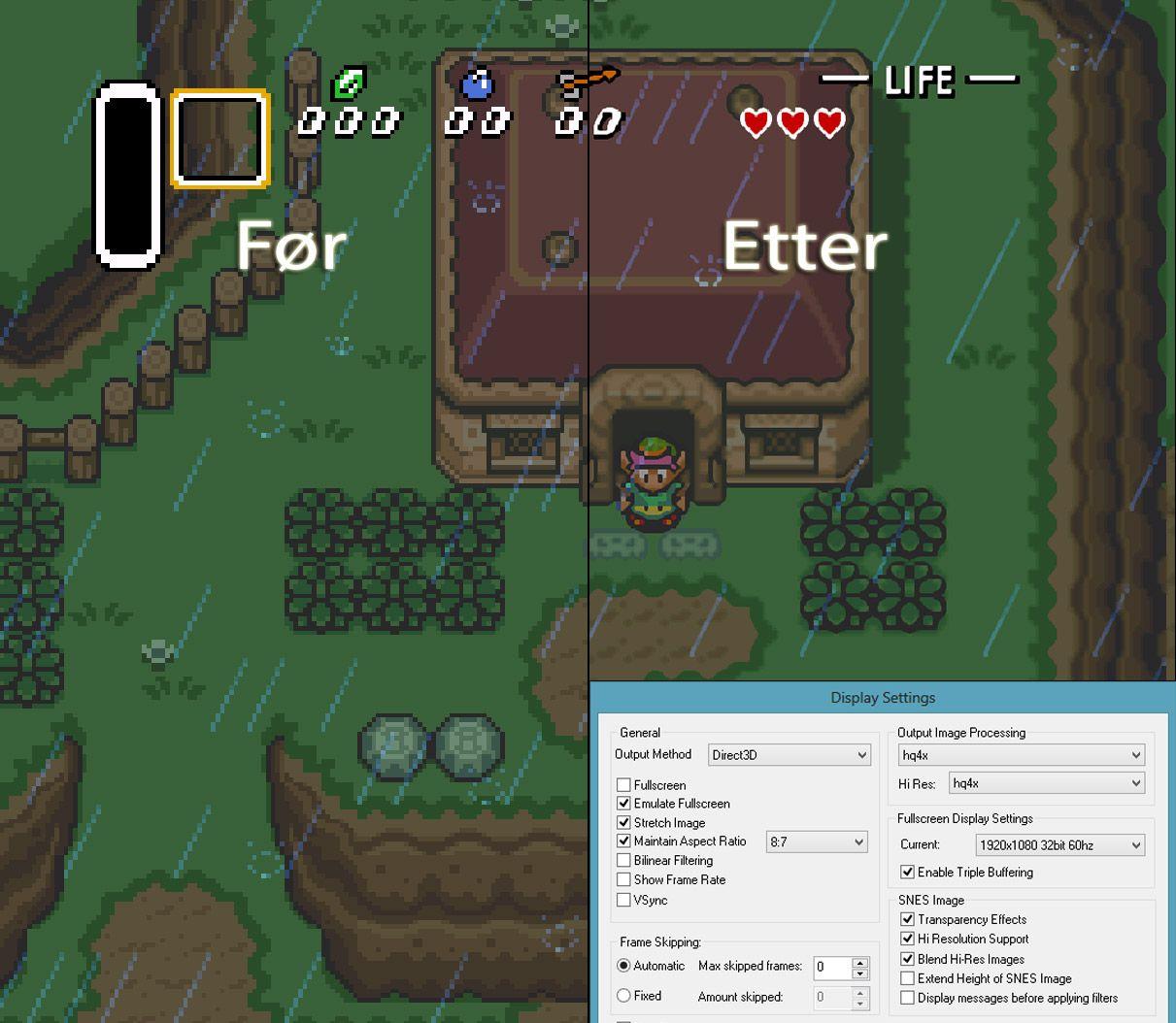 Zelda ser mye mer tegneserieaktig ut med det rette filteret – og er spillbart også i full-HD oppløsning.Foto: Nintendo, Snes9x, Hardware.no