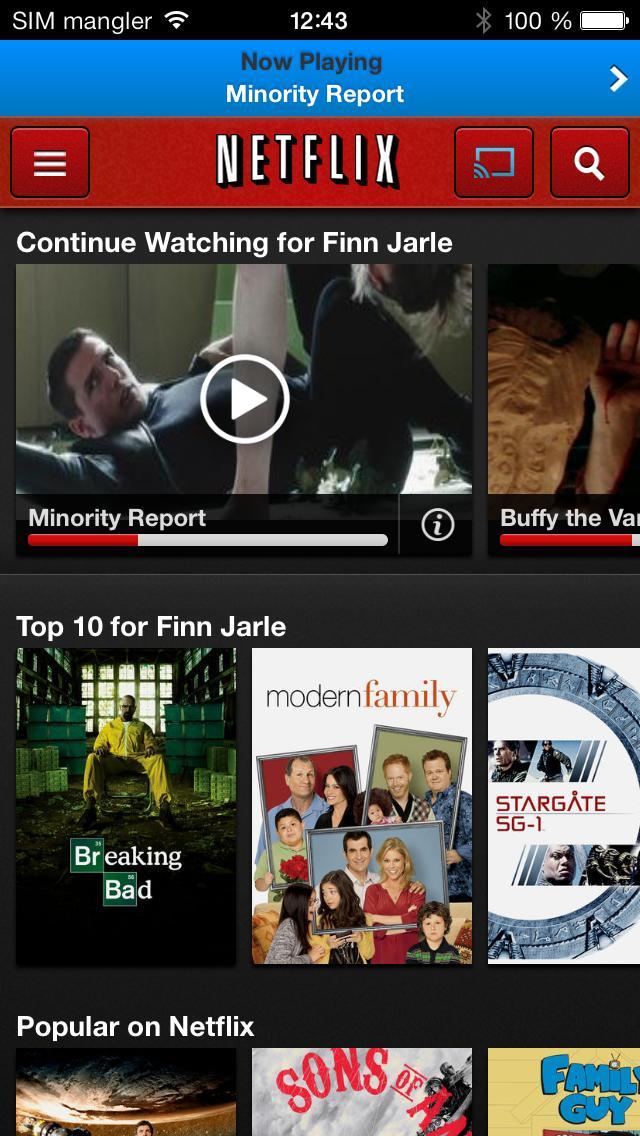 Slik ser det ut når du avspiller Netflix-innhold fra en iOS-enhet til Chromecast.