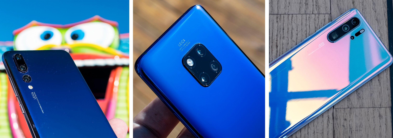 Nyvinninger på kamerafronten har sikret Huawei salg og oppmerksomhet. Men de har også hatt et sterkt fokus på lang batteritid, hurtiglading og andre smarte funksjoner. P20 Pro til venstre i bildet introduserte nattmodusen Huawei er kjent for. Mate 20 Pro la til ultravidvinkel, trådløs lading og vennelading og svært avansert ansiktsgjenkjenning. Med P30 Pro fikk vi for første gang en brukbar 5x zoom i et mobilkamera - på toppen av det fikk vi betydelig forbedret nattmodus og en bildebrikke stor nok til å klare seg i mørket også uten den litt tidkrevende nattmodusen. Mate 30 Pro er ventet å ta et nytt sprang i denne reisen.