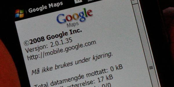 Google Maps er ikke beregnet for bilen.