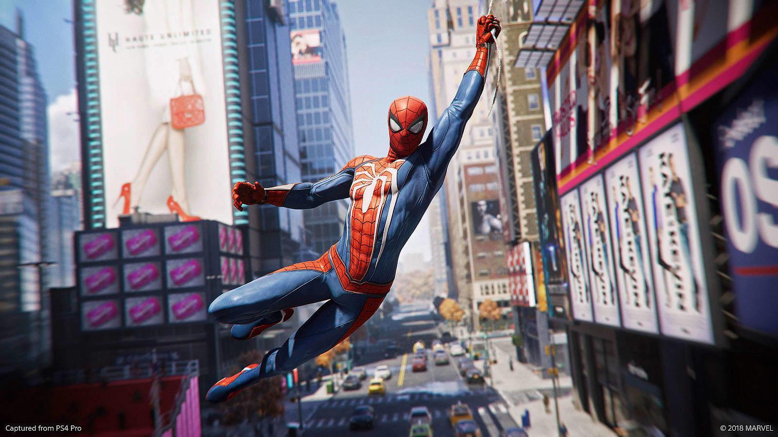 Vi synes ikke dette forhåndsrendrede bildet gir et presist bilde av grafikken i nye Spider-Man, men du får i alle fall et inntrykk av hvordan han slynger seg mellom bygningene.