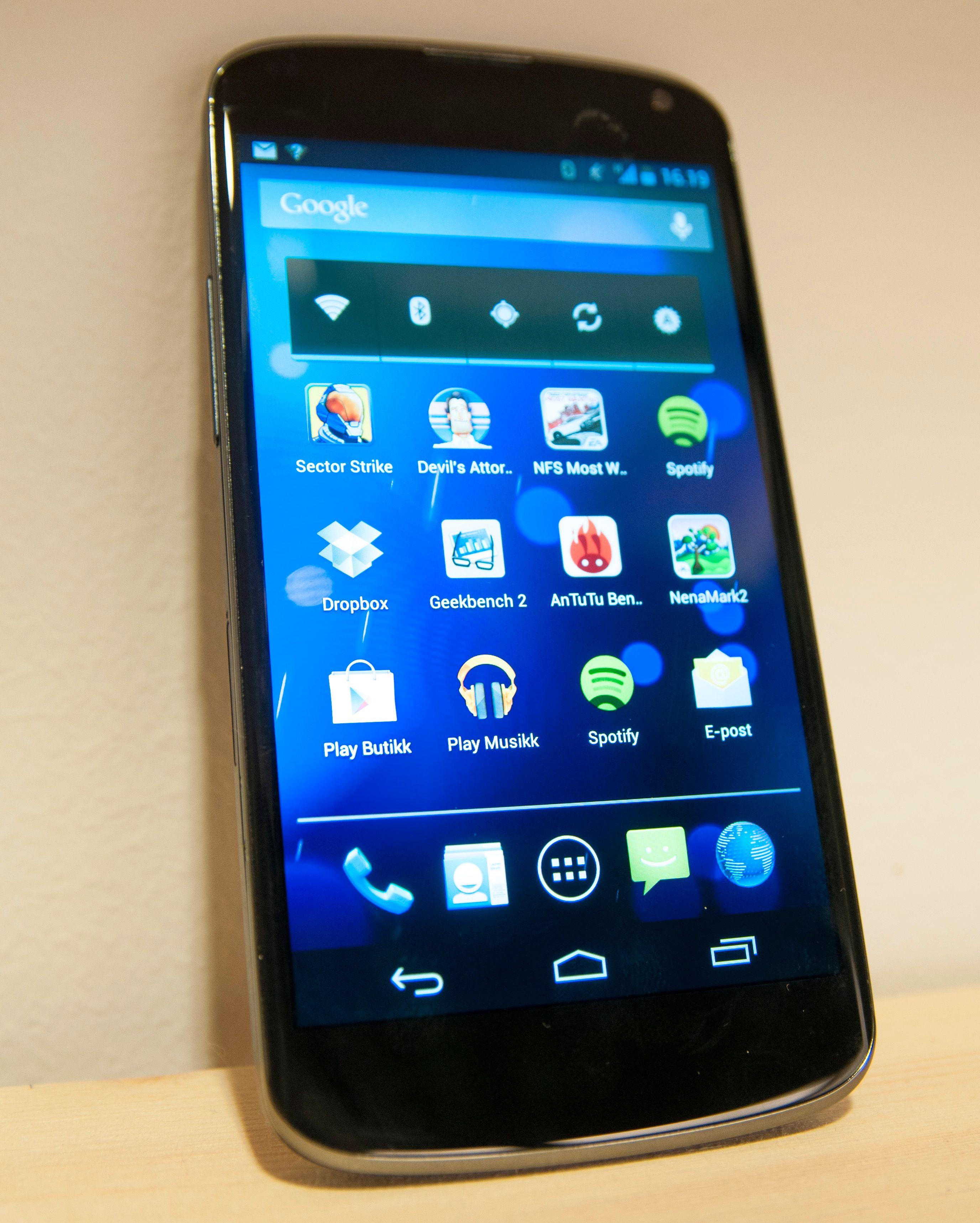 Slik ser LG Nexus 4 ut på nært hold.Foto: Finn Jarle Kvalheim, Amobil.no
