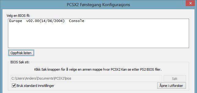 Emulatoren spør deg om hvor du har lagt BIOS-filen din. Uten denne kan ikke emulatoren kjøre.