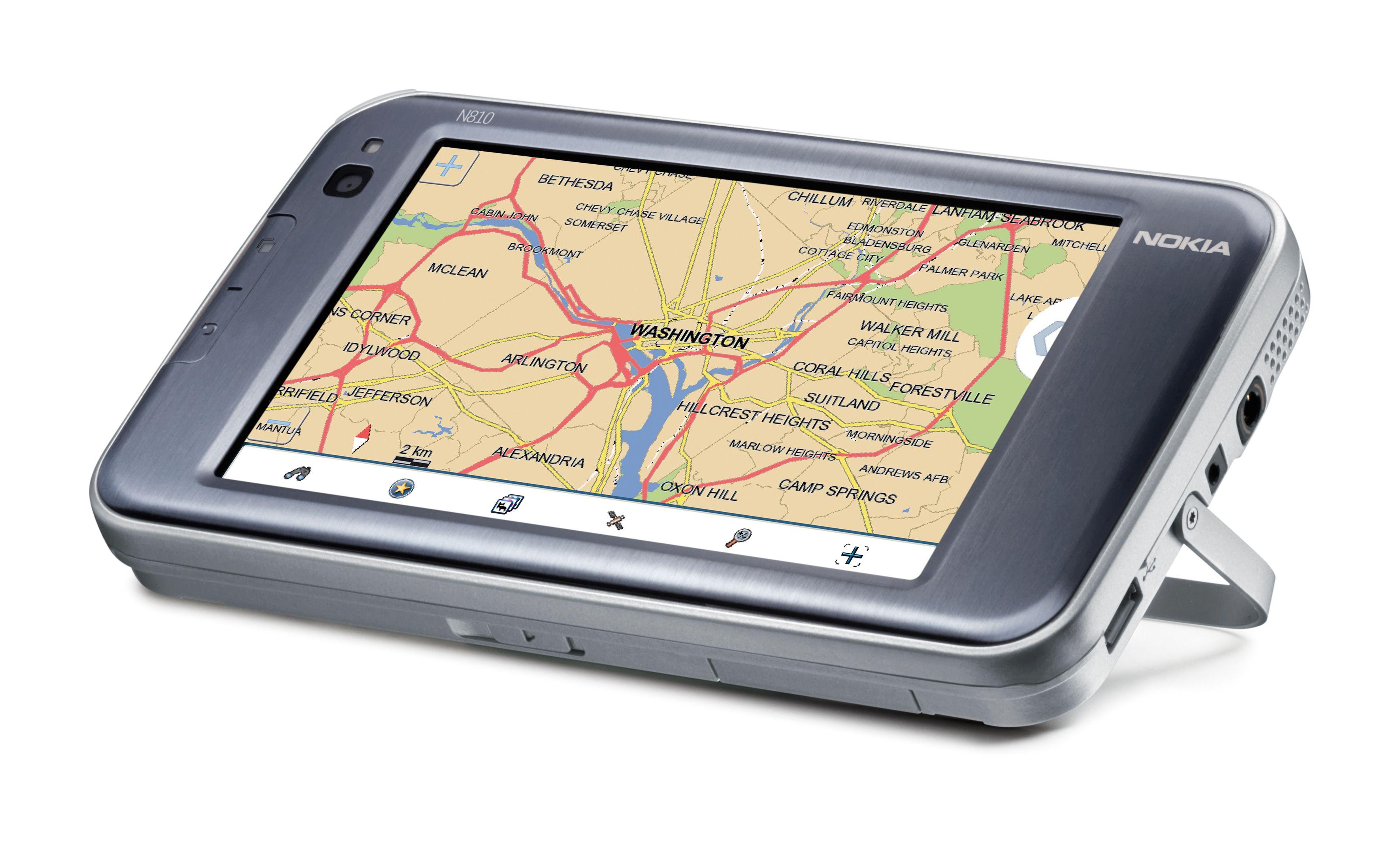 N810 kan plassere deg på et kart ved hjelp av den innebygde GPS-en.