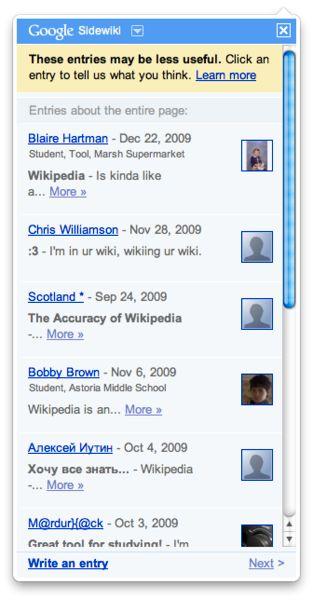Med Sidewiki kunne besøkende til et nettsted gi tilbakemeldinger utenfor administratorenes kontroll.Foto: Wikipedia