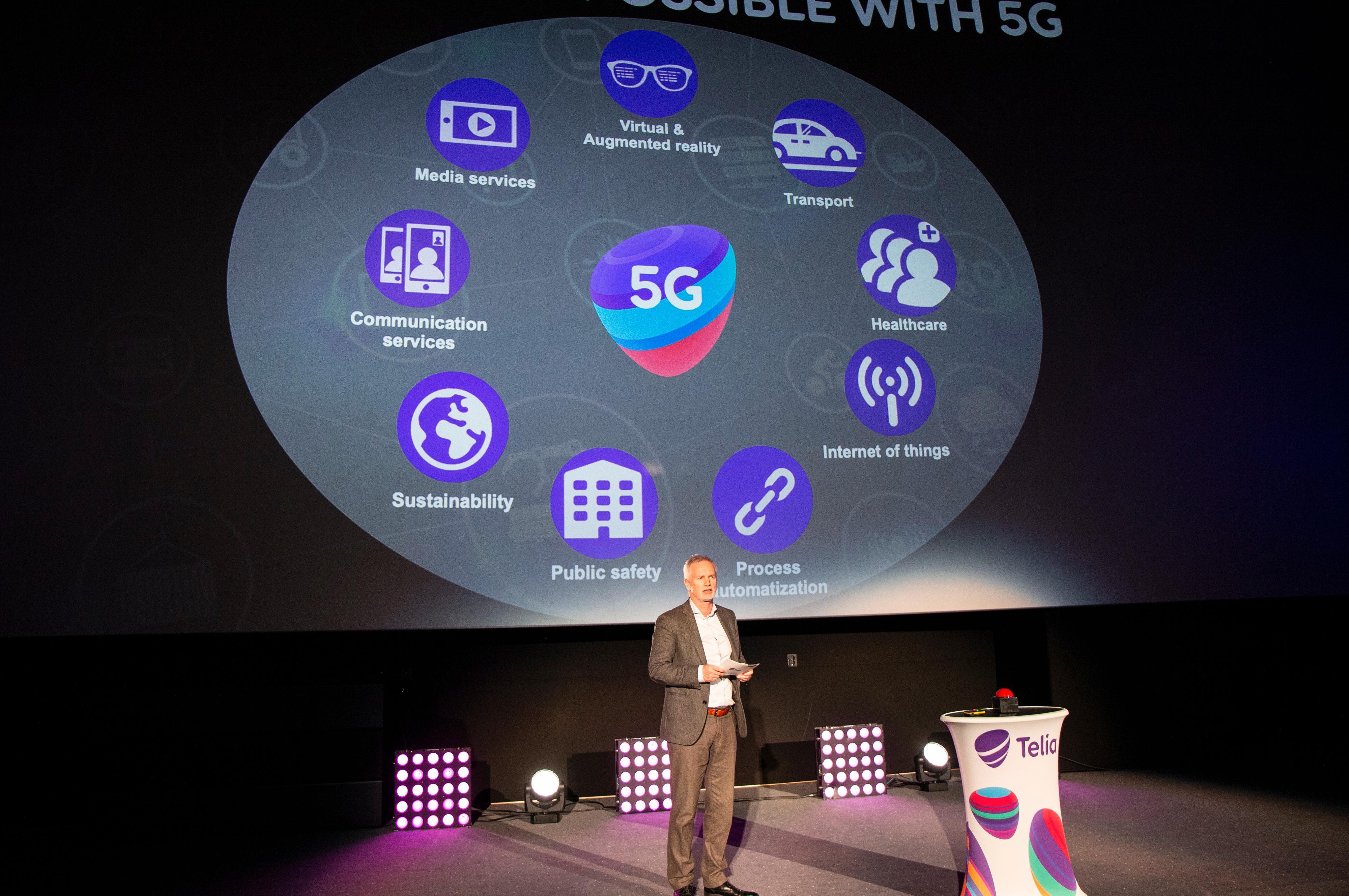 Telias teknologisjef Dag Wigum med potensielle bruksområder for 5G.