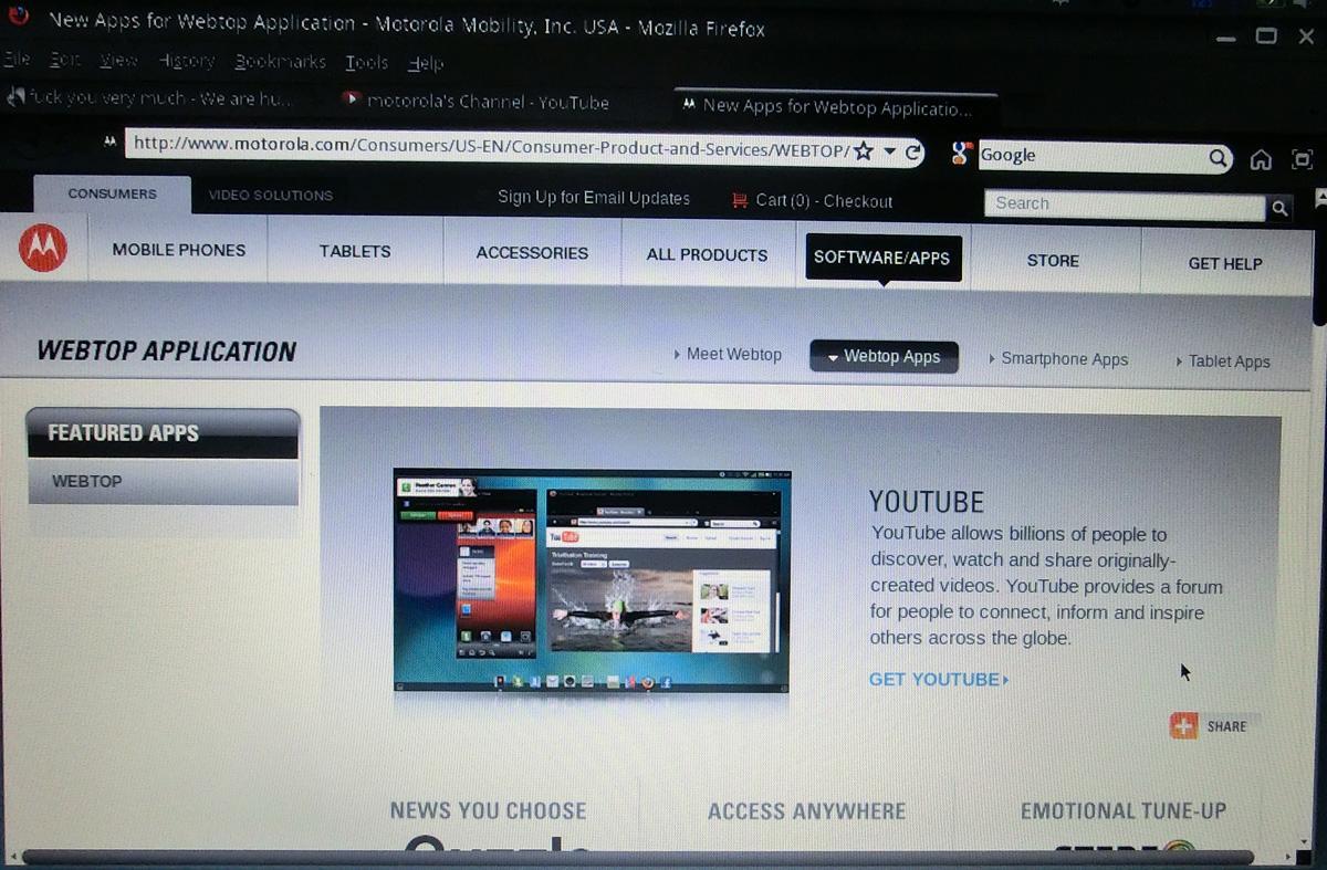 Klikker du på Motorola-ikonet for å laste ned Weptop-applikasjoner, kommer du til en nettside for dette.
