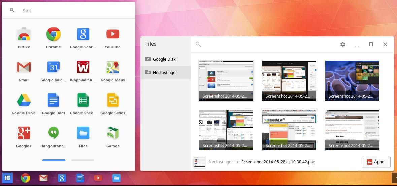 Alle ikonene i programmer-menyen er bare lenker til nettsider som åpnes i Chrome-nettleseren. I bildebehandleren kan vi se forhåndsvisning av dokumenter som ligger lagret både lokalt og i skyen.