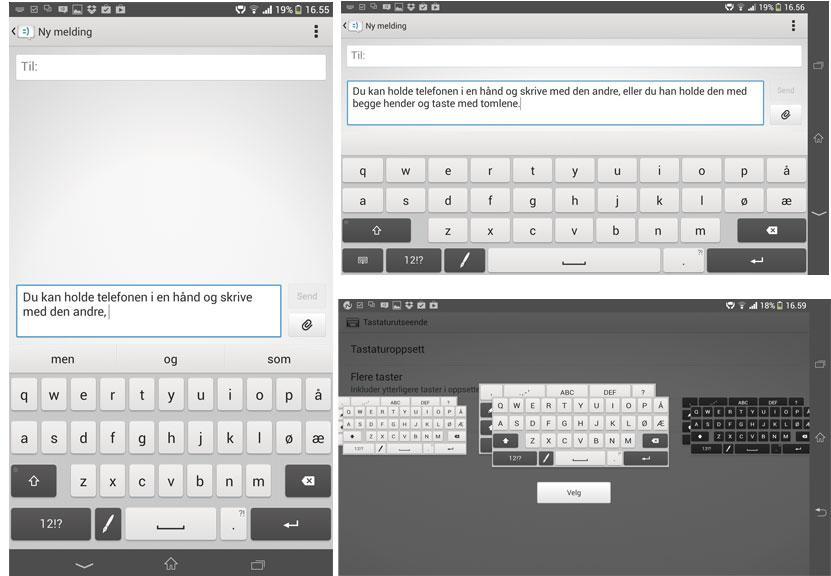 Tastaturet kan endres på flere måter.