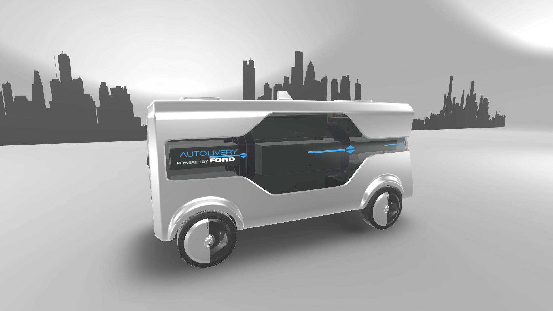 Illustrasjonsbilde av de drone-utstyrte, selvkjørende bilene.