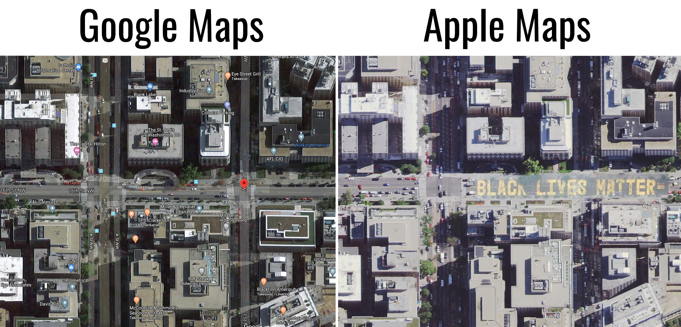 Google har foreløpig ikke gjort noe lignende; her vises gata som før teksten ble malt.