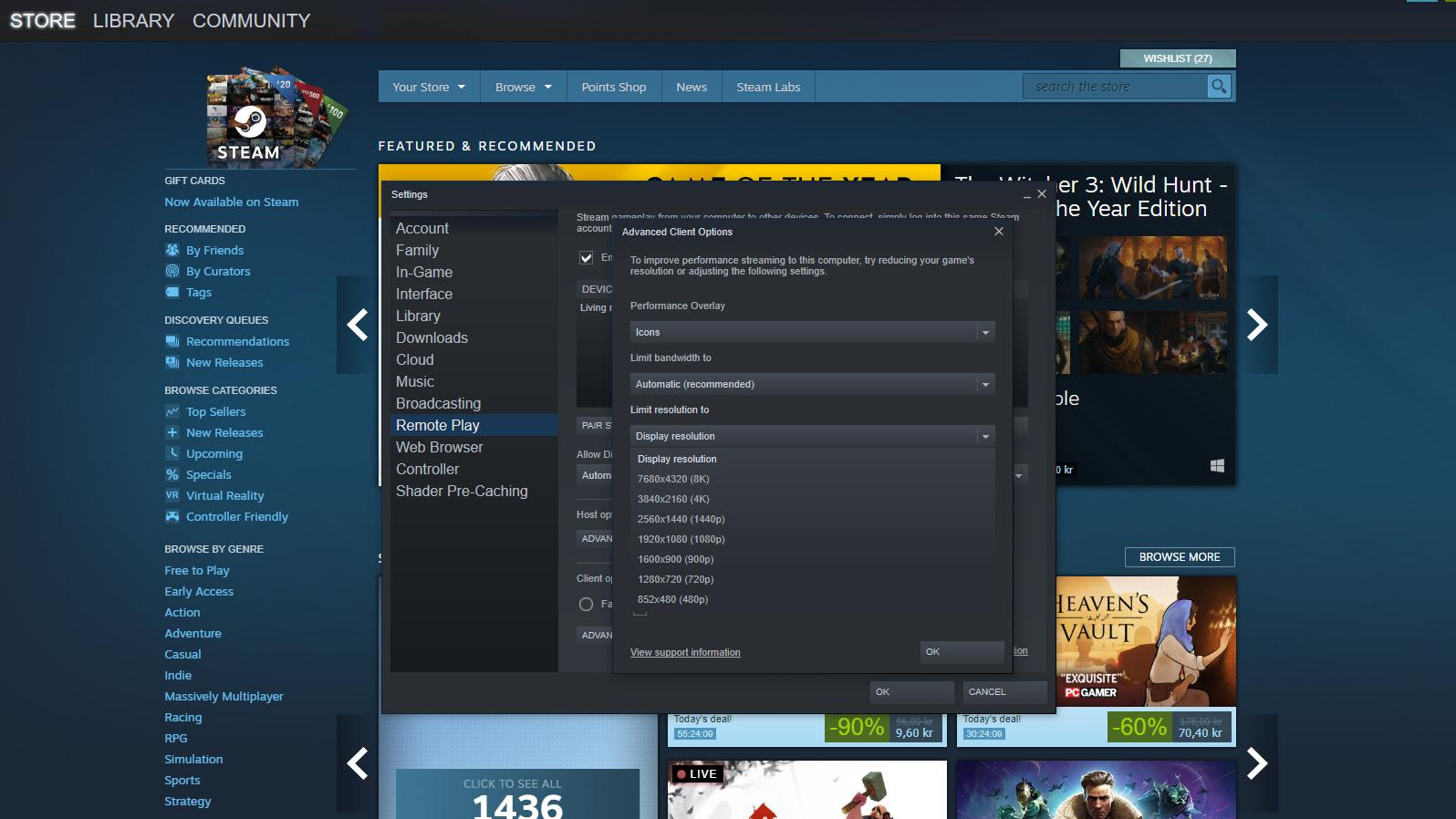 Steam-applikasjonen har nå fått mulighet for å strømme i 8K-oppløsning.