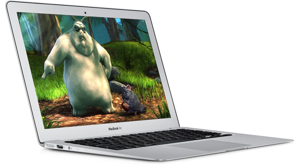 Vår MacBook Air 13-tommer med Big Buck Bunny.Foto: Apple/ Blender Foundation