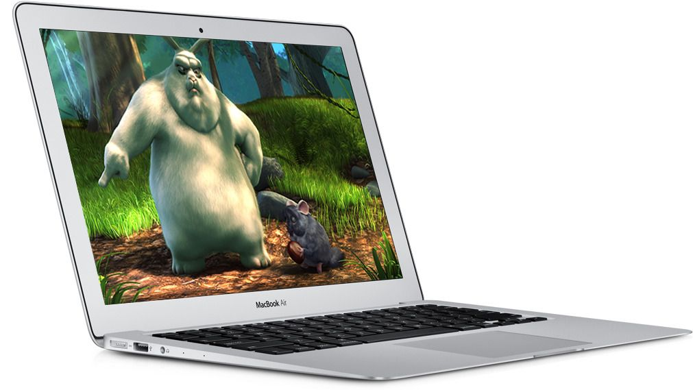 Vår MacBook Air 13-tommer med Big Buck Bunny.Foto: Apple/ Blender Foundation
