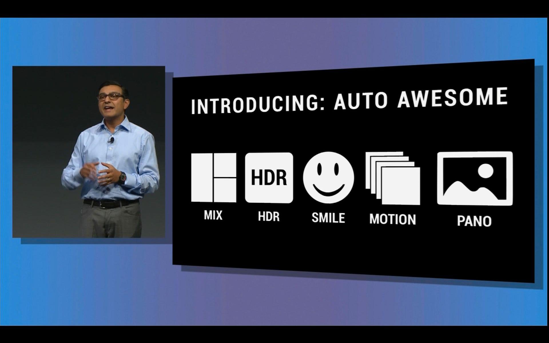 Auto Awesome kan sette sammen bilder som likner på hverandre til små animasjoner.Foto: Google IO Webcast
