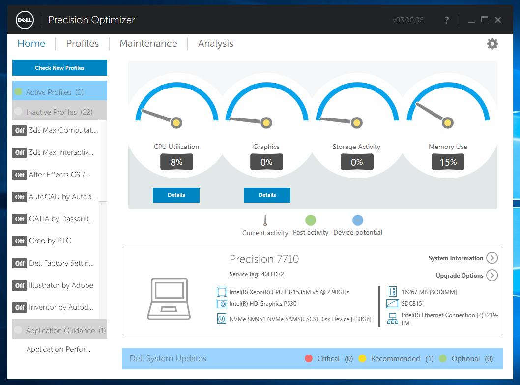 Med programmet Precision Optimizer kan du velge mellom profiler optimalisert for ulike programmer, og du får en oversikt over tilgjengelige driveroppdateringer.
