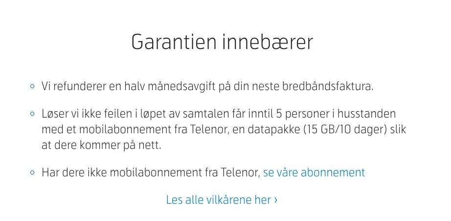 Telenors «alltid på nett»-garanti gir kunder rett til kompensasjon om bredbåndet faller ned.